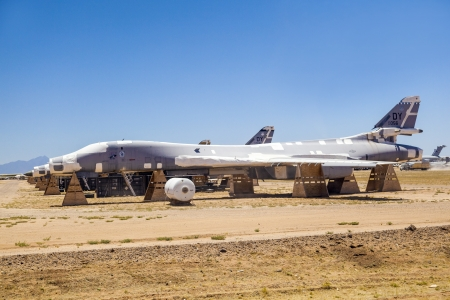 TUCSON, USA - JULY 14: view of old fighter aircraft at Montham AFB at July 14, 2012 in Tucson, USA. The aircrafts don't rust in that dry area. It is a big  aircraft parking garage for civil and military aircrafts. Stock Photo - 16979070