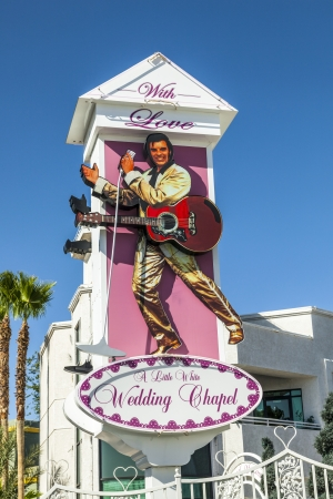 elvis: LAS VEGAS - JUNE 15: Little White Wedding Chapel o, june 15, 2012 in Las Vegas, USA. They offer a 24 hour service  and quick marriage is done in about 30 minutes. Editorial