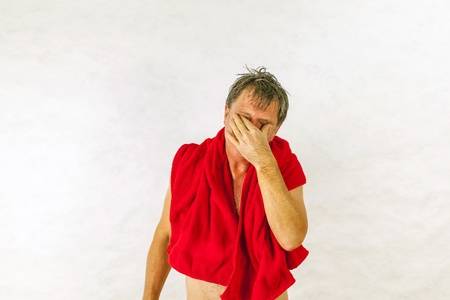 Man toweling hair after shower Stock Photo - 17054188
