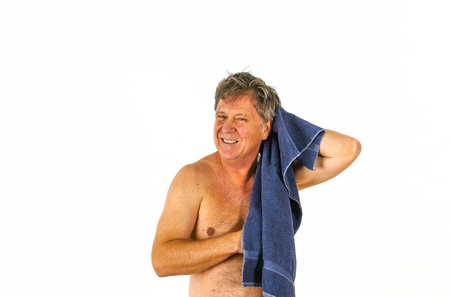 Man toweling hair after shower Stock Photo - 17054208
