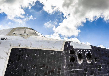 cape canaveral: ORLANDO, USA - JULY 25: The space shuttle Explorer OV100 at Kennedy Space  on July 25, 2010 in Orlando, USA.  It was built in Apopka and, installed at Kennedy Space Center Visitor Complex in 1993.