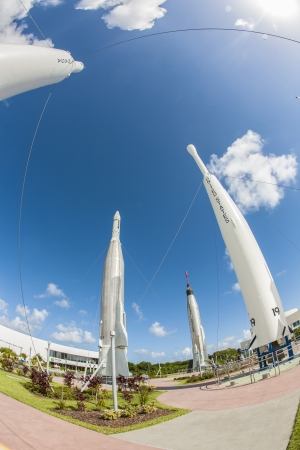 ORLANDO, USA - JULY 25: The Rocket Garden at Kennedy Space Center features 8 authentic rockets from past space explorations on July 25, 2010 in Orlando, USA. Stock Photo - 17069750