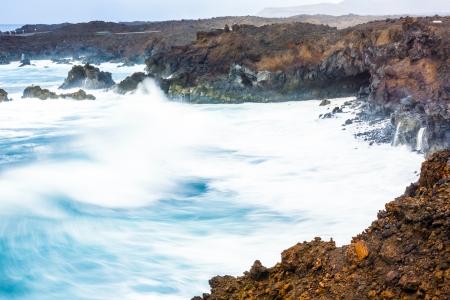 coast at Los Hervideros with huge waves in Lanzarote