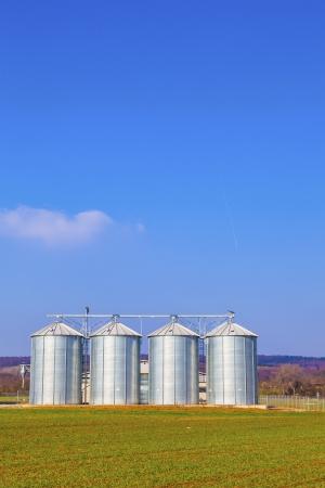 four silver silos in field under bright sky photo