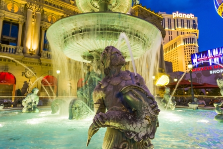 sinners: LAS VEGAS - JULY 17: Fountain at Cesars Palace  on the Las Vegas Strip in the late afternoon in neon light on July 17, 2008 in Las Vegas, USA. Editorial