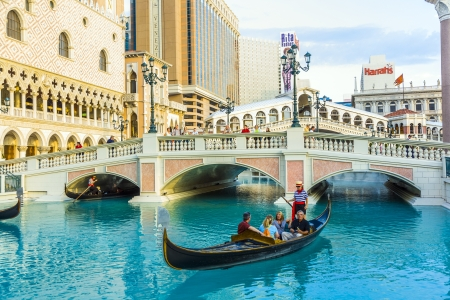 LAS VEGAS, NEVADA - JULY 17: Venice ressort with gondola on July 17, 2008 in Las Vegas, USA. The luxury resort has a five-diamond hotel with 4,049 suites and 4,059 hotel rooms