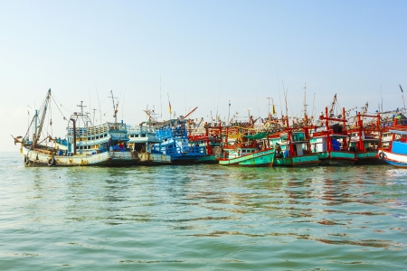 contributed: PHE, THAILAND JAN 1: fisherboats in the harbor on Jan 1, 2010 in Phe, Thailand. In 2008  fishing contributed only 2.5 percent to GDP. Editorial