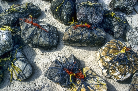 plastik: net to stabilize the fisher nets at the beach for drying and cleaning,also to give special weight to nets Stock Photo