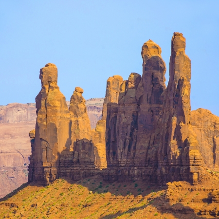 The Totem Pole Butte is a giant sandstone formation in the Monument valley made of sandstone photo
