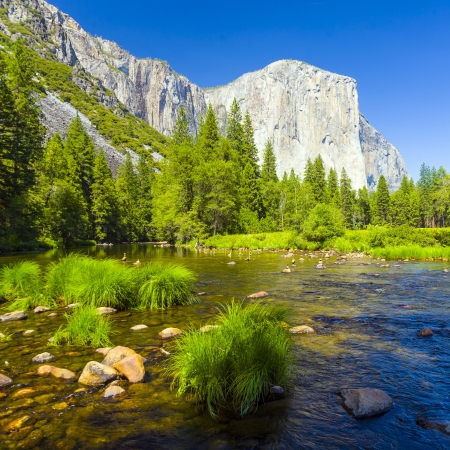 view to western rocket plateau of yosemite national park seen from beautiful Merced river Stock Photo - 17290903