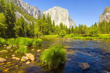 view to western rocket plateau of yosemite national park seen from beautiful Merced river Stock Photo - 17290960