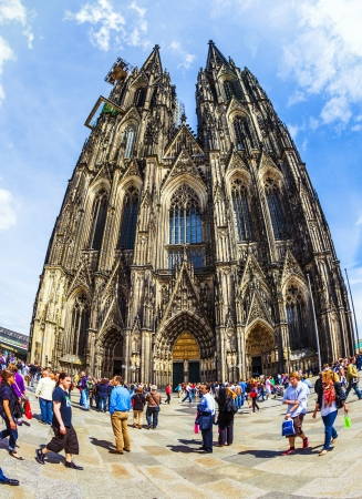 COLOGNE, GERMANY - MAY 28: people enjoy the view to the dome on May 28, 2011 in Cologne, Germany. It is Germanys most visited landmark attracting ca. 20000 people a day.