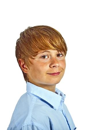 cute young happy boy in studio Stock Photo - 17347045