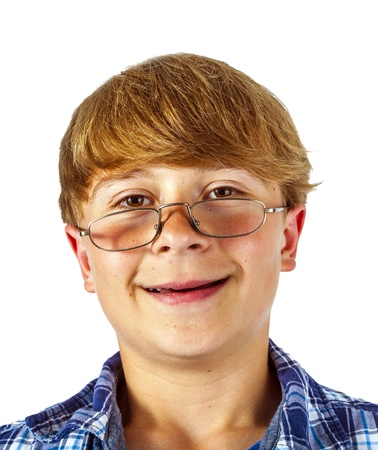 happy smiling young teen with glasses isolated on white photo