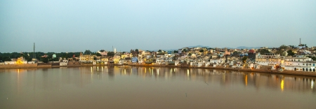 ghats in Pushkar with lake view in early morning photo