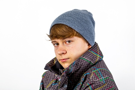 portrait of freezing boy in winter clothes Stock Photo - 17411570