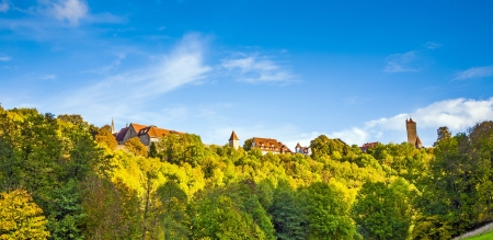 places of interest: Rothenburg ob der Tauber, old famous city from medieval times seen from the romantic valley of the river Tauber