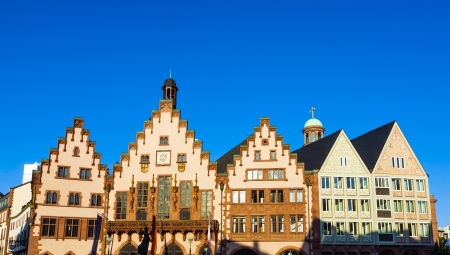 roemer: famous town hall at the central place in Frankfurt, the Roemer, the former historic city center Stock Photo