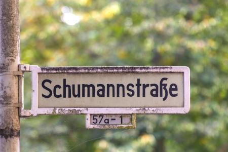 street shield in Bonn named after musician Robert Schumann Stock Photo - 17448798