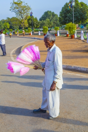 DELHI, INDIA - OCT 16: sales people at India gate offer cotton candy to indian tourists on OCT 16, 2012 in Delhi, India. India gate is the symbol for the British retreatment and a must to see for any indian. Stock Photo - 17653559