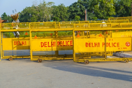 india gate: NEW DELHI - OCT 16:  barriers at the india gate ready for use by police on Oct 16, 2012 in Delhi, India. Barrieres are placed all over Delhi in case of demonstrations.