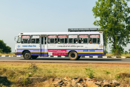 unsatisfactory: JODHPUR, INDIA - 18 OCT: people travel by bus in Jodhpur on October 18, 2012. Unsatisfactory quantity & quality of public transportation limit indian people in everyday traveling. Editorial