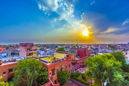 cityscape of Bikaner, old indian City in Rajasthan with a famous fort in sunset