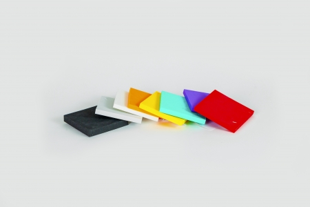 polystyrene forms in different colors and sizes photo