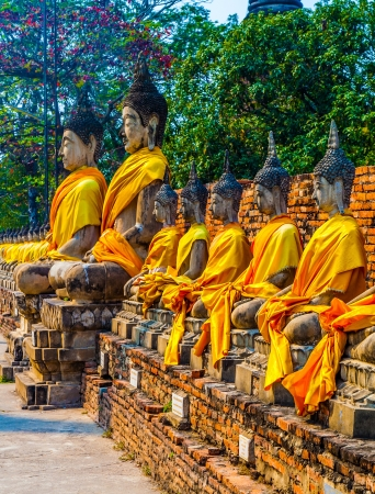 Buddha statues at the temple of Wat Yai Chai Mongkol in Ayutthaya near Bangkok, Thailand Stock Photo - 17648614