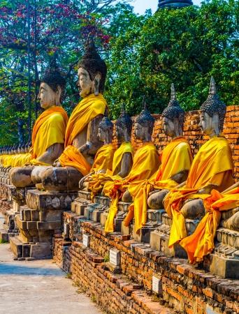 Buddha statues at the temple of Wat Yai Chai Mongkol in Ayutthaya near Bangkok, Thailand Stock Photo - 17648614