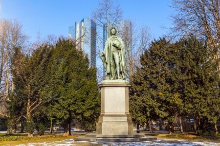 friedrich: statue of Friedrich Schiller in Frankfurt Stock Photo
