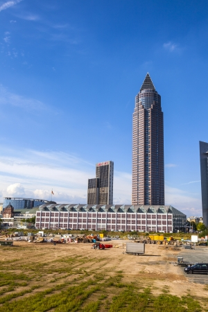 FRANKFURT, GERMANY - SEP 12: Messeturm - Fair Tower on Sep 12,2010 in  Frankfurt, Germany. The skyscraper was the highest building in Europe from 1991 until 1997 with 257 meters. Stock Photo - 17877691