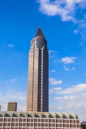 messe: FRANKFURT, GERMANY - SEP 12: Messeturm - Fair Tower on Sep 12,2010 in  Frankfurt, Germany. The skyscraper was the highest building in Europe from 1991 until 1997 with 257 meters.