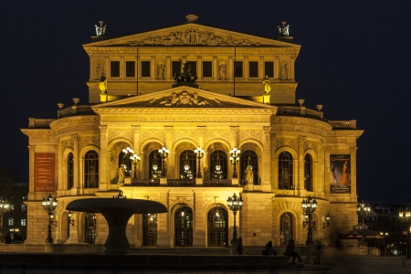 alte: FRANKFURT -  FEBRUARY 5: Alte Oper at night on February 5, 2013 in Frankfurt, Germany. Alte Oper is a concert hall built in the 1970s on the site of and resembling the old Opera House destroyed in WWII.