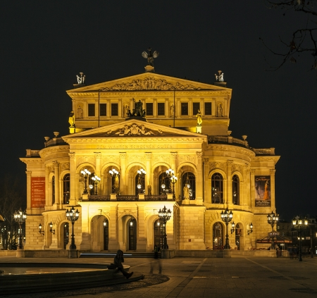 alte: FRANKFURT -  FEBRUARY 5: Alte Oper at night on February 5, 2013, in Frankfurt. Alte Oper is a concert hall built in the 1970s on the site of and resembling the old Opera House destroyed in WWII.