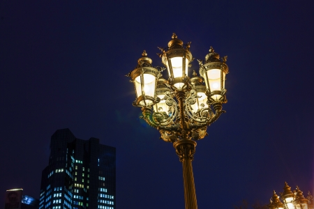old lantern by night in Frankfurt photo