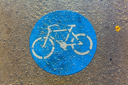 foot path: symbol for path and bikelane on plaster