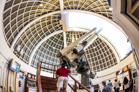 LOS ANGELES, USA - JUNE 24: Zeiss telescope at the Griffith observatory  on June 24, 2012 in Los Angeles, USA. The Zeiss Refractors of Griffith Observatory from 1935 is open to public and free due to Griffiths will.