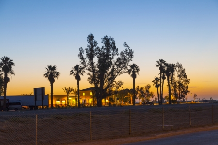 generic Motel at the Highway in sunrise photo