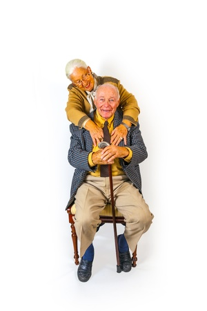 portrait of happy elderly senior couple photo