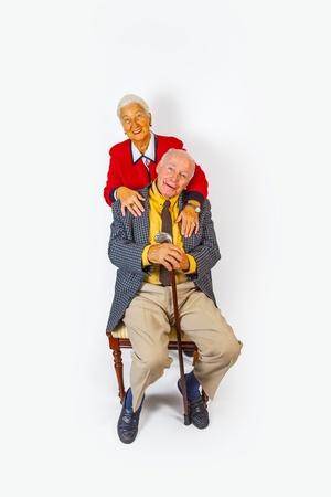 portrait of happy elderly senior couple photo