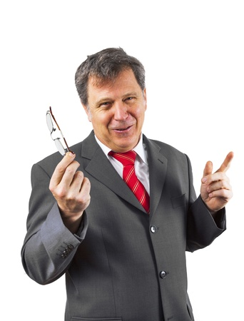speach: business man holding a speach Stock Photo