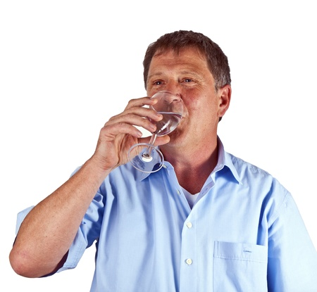 thirsty man drinking out of a wine glass photo