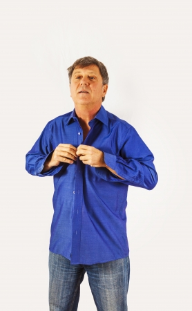 buttoning: man get dressed in the morning