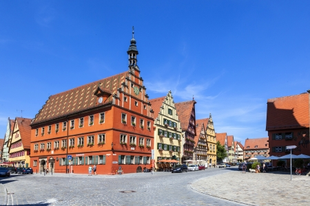half  timbered: DINKELSBUEHL, GERMANY - JULY 12: famous old romantic medieval half timbered houses on July 12,2011 in Dinkelsbuehl, Germany.  The town received in 1305 the same municipal rights as Ulm and obtained in 1351 the position of a Free Imperial City.