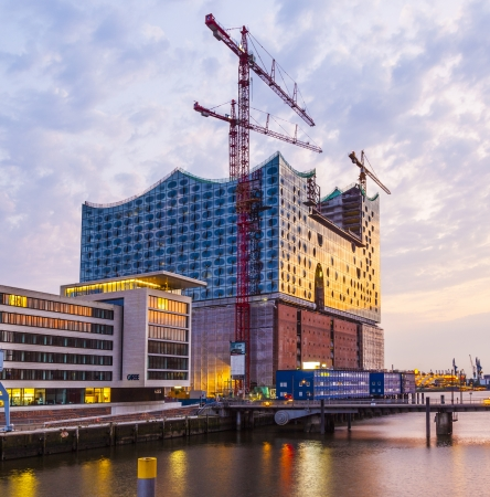 HAMBURG, GERMANY-  AUG 23: Construction site of the new Elbphilharmonic building in Harbor City on Aug 23,2011 in Hamburg, Germany. It will be the tallest inhabited building of Hamburg.