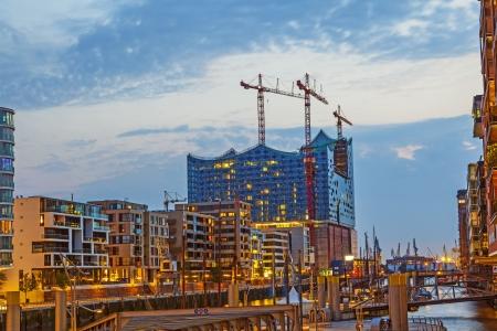 HAMBURG, GERMANY-  AUG 23: Construction site of the new Elbphilharmonic building in Harbor City on Aug 23,2011 in Hamburg, Germany. It will be the tallest inhabited building of Hamburg.
