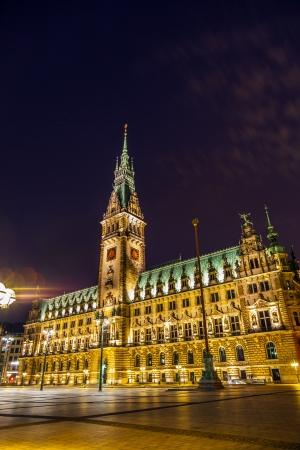 bluer: townhall in Hamburg by night