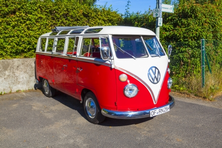 vw: STEINBACH, GERMANY, AUG 18: beautiful restored VW Bully on Aug 18,2012 in Steinbach, Germany. Production of Type T1 (VW BULLY) started in 1950 in Wolfsburg and lasts until 1967.