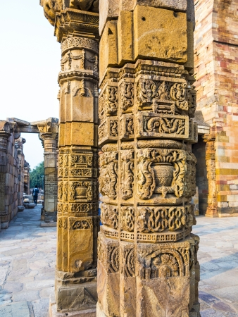 quitab: stone carvings at pillars, Qutab Minar, Delhi